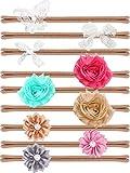 9 Stücke Mode Stil Baby Mädchen Stirnbänder Säugling Kleinkind Kopf Wickeln Nylon Kopf Band Blume Bogen Haarbänder für Baby Säugling Kleinkind Haarschmuck