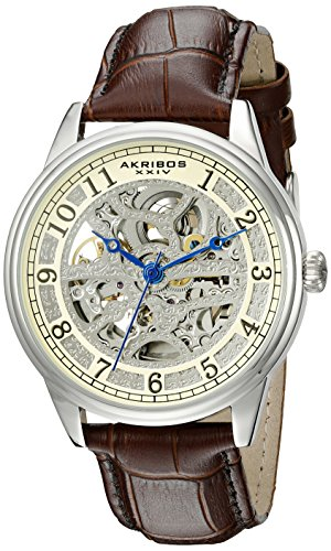 Akribos XXIV Men's AK807BR Automatic Movement Watch with Silver and Light Yellow Dial Featuring Open Case back and Brown Leather Strap