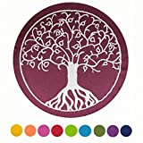 Coussin Maylow Yoga mit Herz - Pour le yoga et la méditation - Décoré avec un arbre de vie brodé - 33x 15cm - Rempli avec de la vannure d'épeautre - Housse et coutil 100 % coton, prune, 15...