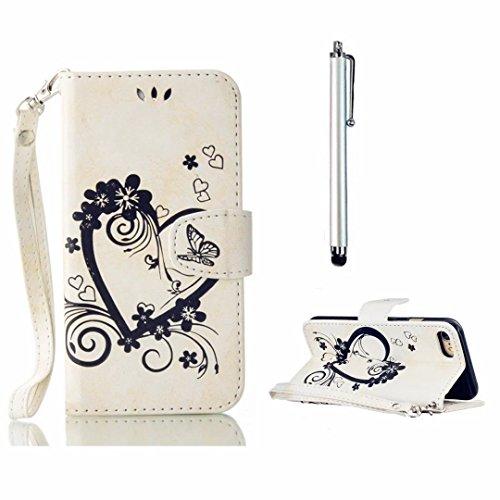 MUTOUREN Schwarz Hülle Leder Tasche für Sony Xperia X Performance Geldbörse Hülle Brieftasche Handytasche Zubehör Schutzhülle Etui Case Cover + Stylus pen-Liebe Herz Weiß