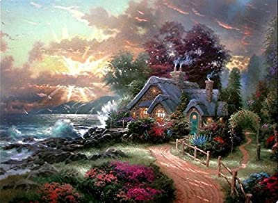 Thomas Kinkade Posters and Prints Landscape Painting Printed on Canvas Wall Art Picture for Living Room Home Decorations Framed Ready to Hang 40*50cm - low-cost UK canvas store.