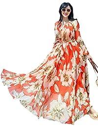 Medeshe Women s Long Sleeve Lily Floral Maxi Dress Holiday Beach Sundress e94d4c9b8