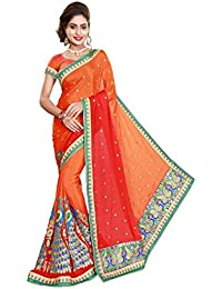 Panash Trends Women's Heavy Embroidery Work Satin Silk Saree (UJJ.K582,O,B, Color)