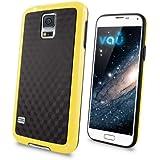 vau Bumper Cuboid - yellow - TPU Silikon-Case, Tasche für Samsung Galaxy S5