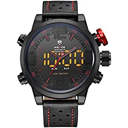Alienwork LED Analogue-Digital Watch XXL Oversized Wristwatch Multi-function Leather red black OS.WH-5210-B-5
