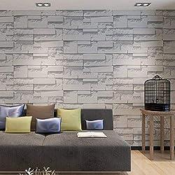HANMERO® Korea diseño 3D papel pintado imitación ladrillo,vinilo papel de pared,color gris,0.53M*10M