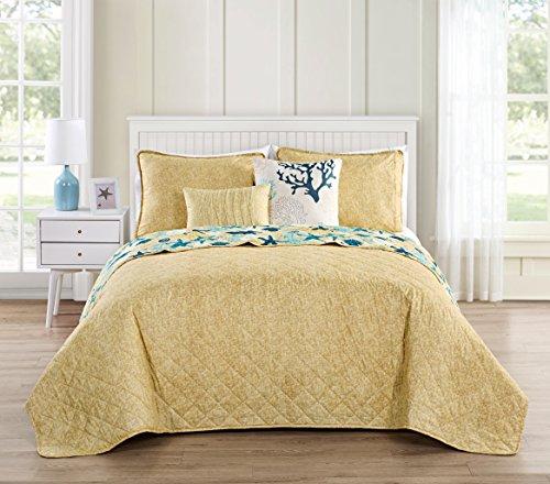 VCNY Home Aquatic 5 Piece Reversible Bedding Quilt Set, Queen, Blue