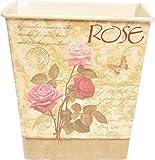 Wunderschöner ROSE Floral VINTAGE Blech BLUMENÜBERTOPF