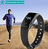 Schrittzähler Smart Armband, AsiaLONG Bluetooth Armbanduhr Aktivitätstracker Fitnessarmband mit Schritt / Schlafanalyse / Kalorienzähler / Vibrationswecker Anruf SMS SNS Vibration für Gehen,Laufen,Joggen für Android IOS (SW320) - 4