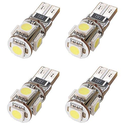 Cikuso 4 x canbus T10 194 168 5050 W5W Feu de stationnement LED 5 SMD 12V DC Xenon Feu Arriere Plaque d'immatriculation Blanc