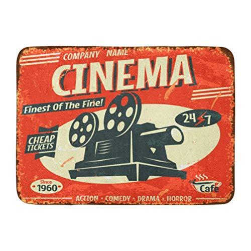 Fußmatten Bad Teppiche Outdoor/Indoor Fußmatte Film Retro Kino Film Vintage Alte Kamera Theater Badezimmer Dekor Teppich Badematte