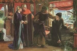 Huile sur toile - 20 x 13 inches / 51 x 33 CM - Dante Gabriel Rossetti - Dante dessinant un ange ...