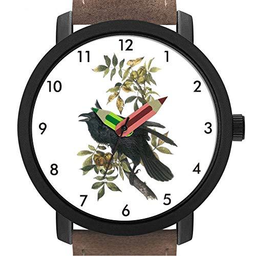 Geschenk für Erwachsene | Kinder | Geburtstag | Stilvolle niedliche Armbanduhr mit Bleistift Form Pointer Ornament Geschenk 087.Common Raven von Audubon -