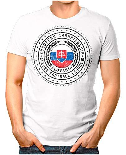 OM3® - Slovakia - Herren T-Shirt Slowakei Wappen Fußball Trikot EM'16 WM Championship Vintage Weiß XXL