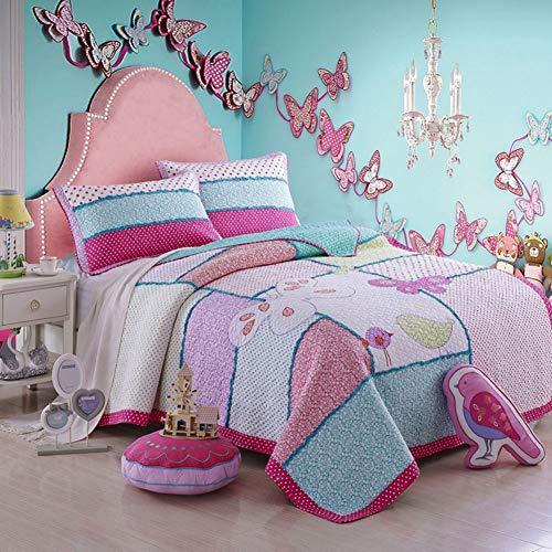 G&H-CZ Tagesdecke Pachwork Mädchen Bettüberwurf Baumwolle Kinder Einzelbett gesteppt Sommerdecke Plus 1 x Kissenbezug