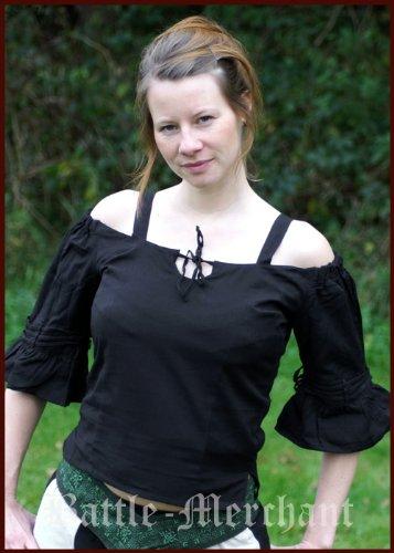 Battle-Merchant Mittelalterliche Bluse mit Trägern schwarz, Gr XXL - LARP Kostüm