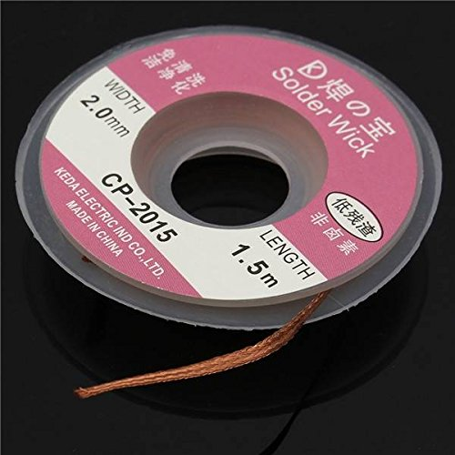Mark8shop 1,5 m/1.5mx2 mm Tresse à dessouder Solder Remover Mèche en cuivre Fil de Bobine de câble