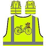 Vintage Fahrrad Blumenkorb Neuheit lustig Personalisierte High Visibility Gelbe Sicherheitsjacke Weste mm58v