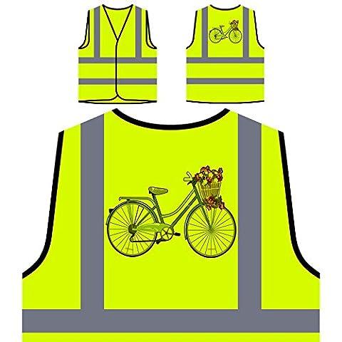 Vintage Bicycle Flower Basket nouveauté drôle Veste de protection jaune personnalisée à haute visibilité mm58v