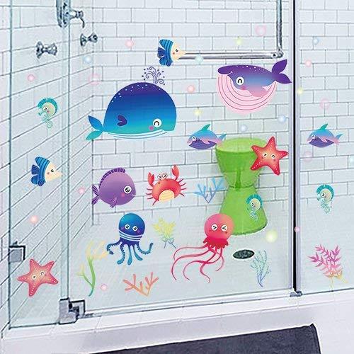 HhGold Das Wohnzimmer Modernes Badezimmer Dusche Wand Fliesen Glas wasserdicht Dekorative Abnehmbare Wall Art Aufkleber Cartoon Fisch, B - Dekorative Glas-fliese