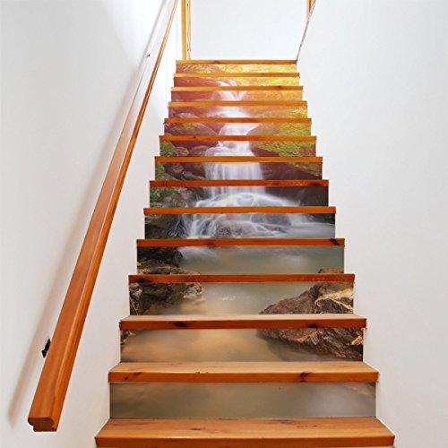 QTZS 3D Sonnenschein Wasserfall Treppen Aufkleber DIY Renovierung Dekorative Wandaufkleber 13 Stücke