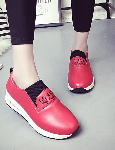 ZQ gyht Scarpe Donna - Mocassini - Casual - Punta arrotondata - Basso - Finta pelle - Nero / Rosso / Bianco , red-us8.5 / eu39 / uk6.5 / cn40 , red-us8.5 / eu39 / uk6.5 / cn40 red-us8.5 / eu39 / uk6.5 / cn40
