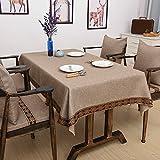 CCILOVE Mantel de lino estilo moderno minimalista encajes de paño de color sólido,marrón oscuro,110*110cm.