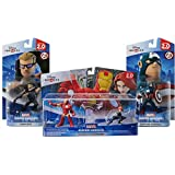 Disney Infinity: Avengers Playset (Iron Man & Black Widow) w/ Captain America + Hawkeye - Marvel Figure Set NEW