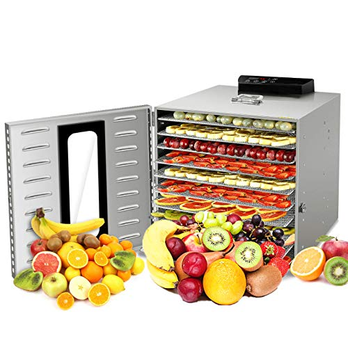 EC Breath Dörrautomat Edelstahl Dörrgerät, 8 verstellbaren Einschübe, BPA-frei, LED-Anzeige mit Timer, Temperaturkontrolle und Auto-Off für Fleisch, Obst, Brot