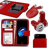 """Asus Zenfone 4 Selfie Pro ZD552KL (5.5"""") - Fall Super-Essentials Pack Clamp Frühlings-Art PU-Leder-Mappe + Dual Einschuss Charger + Micro-USB-1 Meter flache Datenkabel - Red"""