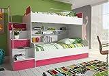wohnenluxus Etagenbett Roterdam / 90x200 / Doppelhochbett mit viel Staumraum/Kinderhochbett / Stockbett Farbe rosa
