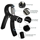 IDEAPRO Adjustable Hand Grip Exerciser (10 - 50kg) - Strengthen Grip, Hand Squeezer, Forearm Grip, Hand Exercise, Gripper, Finger Strengthener (Black)