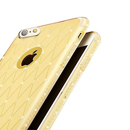 MOMDAD Custodia per iPhone 6 6S Casi Case Cover per iPhone 6 6S 4.7 Pollice Custodia Guscio TPU Morbida Morbida Chic Trasparente Silicone Shell Diamant-oro