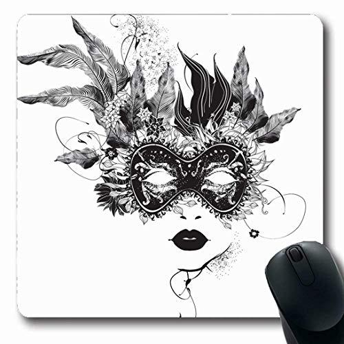 Luancrop Mousepads für Computer Blumenmaskerade Abstrakte Maske Blumen Schwarzes Gesicht Weiß Venezianisches Venedig-Mädchen rutschfeste, längliche Gaming-Mausunterlage -
