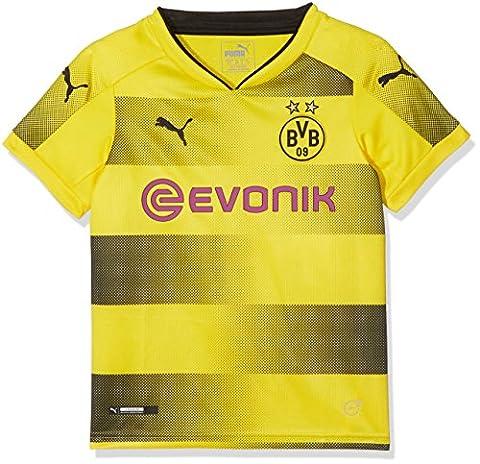 PUMA Kinder Bvb Kids Home Replica Shirt with Sponsor Logo Fußball T-Shirt, Cyber Yellow Black, 164