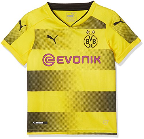 PUMA Kinder Bvb Kids Home Replica Shirt with Sponsor Logo Fußball T-Shirt, Cyber Yellow-Puma Black, 164