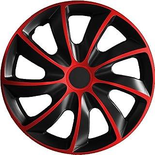 (Farbe und Größe wählbar) 14 Zoll Radkappen QUAD Bicolor (Schwarz-Rot) passend für fast alle Fahrzeugtypen – universell