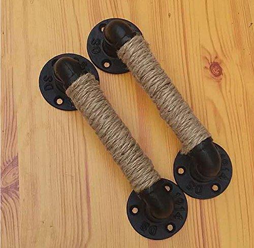 Raing 2 pacchetti in ferro battuto corda di canapa maniglia per porta loft vintage stile industriale / tubo dell'acqua / maniglia grande armadio porta in legno magazzino porta decorazione creativo manubrio , 33cm