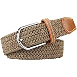 Men Belts, Elastic Braided Stretch Belt with Covered Leather Buckle, for Men's Jeans, Trouser Belts