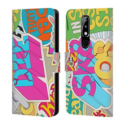 Head Case Designs Skate Or Die Sticker Happy - New Brieftasche Handyhülle aus Leder für Nokia 5.1 Plus / X5 -