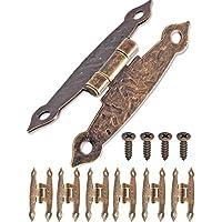 FUXXER - 6x Antik Scharniere | Bronze Eisen Design | Für Schränke Schrank-Türen Truhen Kisten Dosen im Vintage Land-Haus Retro Stil | 65x34mm 6er Set