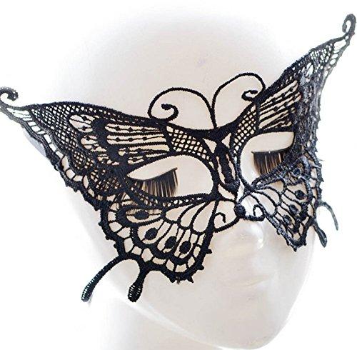 Demarkt Maske Damen Schmetterlings Form Spitzenmaske Reizvoll Schleier Maske Spitze Cosplay Venezianischen Halloween Costume Party Maskerade Maske Schwarz (Venezianische Maske Schmetterling)