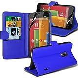 ( Blue ) Motorola Moto G Leder-Mappen-Schlag Standplatz-Fall-Haut-Abdeckung Mit-Schirm-Schutz-Schutz By i-Tronixs