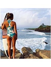 Traje de Baño Una Pieza Bikini Push Up Bañador Protección UV de Cremallera sin Aros con Relleno - Nuevo Diseño del 2017 - Ropa de Natación Manga Larga Estampado Floral para Mujer Chica
