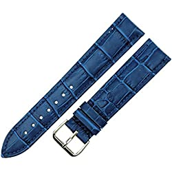 RECHERE Alligator Crocodile Grain Leather Watch Band Strap Pin Buckle Color Blue (width 12mm)