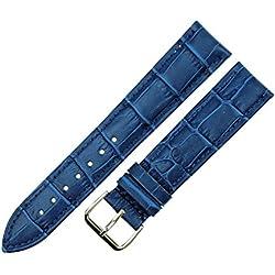 RECHERE Alligator Crocodile Grain Leather Watch Band Strap Pin Buckle Color Blue (width 20mm)