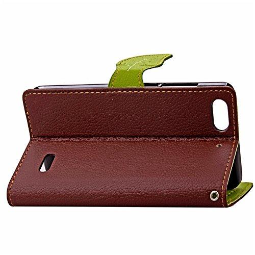 YHUISEN Huawei Honor 4C Case, Natur Blatt Magnetverschluss Stil PU Leder Brieftasche Flip Case Cover für Huawei Honor 4C ( Color : Green ) Brown
