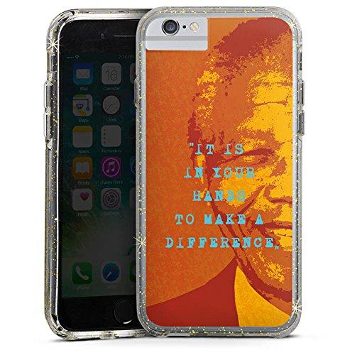 Apple iPhone 6s Bumper Hülle Bumper Case Glitzer Hülle Mandela Veraenderung Change Bumper Case Glitzer gold