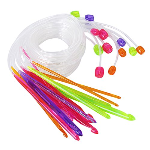 Set di 12pcs Uncinetti Ferri Da Maglia Colorata Plastica Per La Fabbricazione Del Tappeto