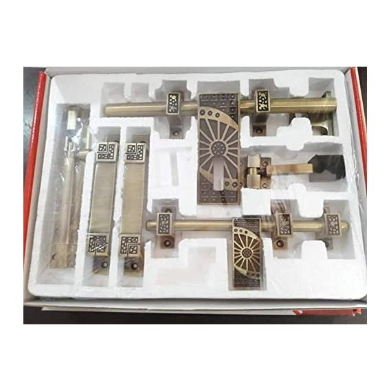 A & Y Traders Silver Glorious Hardware Door Fittings Kit (6 Pieces)
